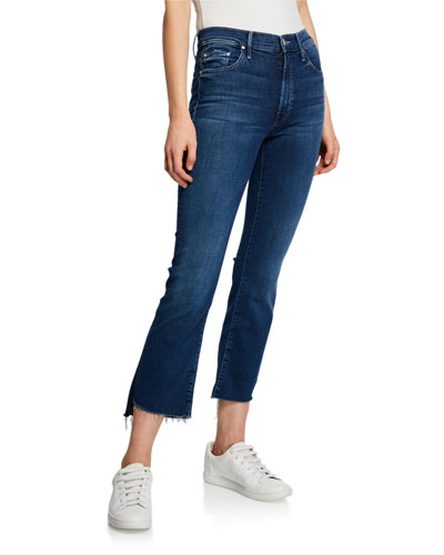 The Insider Crop Step-Hem Jeans w/ Frayed Hem