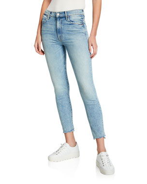 d070032ab1a8 MOTHER The Stunner Chewed-Hem Ankle Skinny Jeans