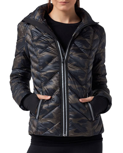 Reflective Camo-Print Puffer Jacket