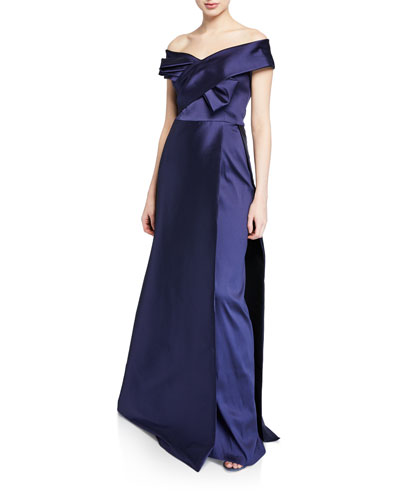 Off-the-Shoulder Short-Sleeve Mikado Evening Gown