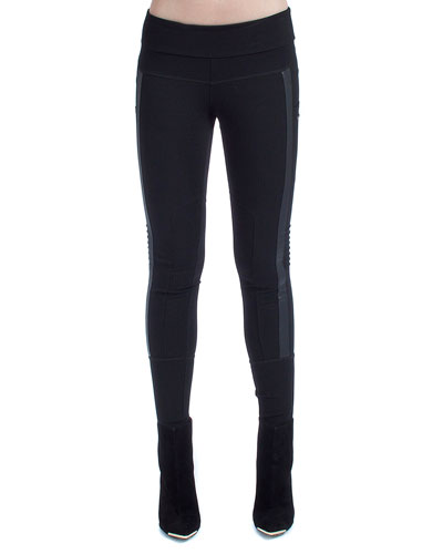Paneled Mesh Moto Leggings