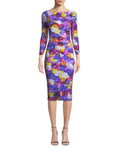 Siviliana Floral Bateau-Neck Dress