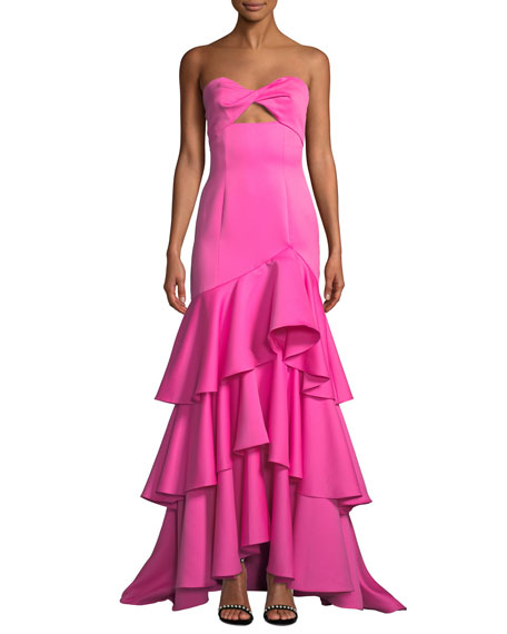 JAY GODFREY Strapless Satin Gown W/ Tiered Ruffle Hem in Pink