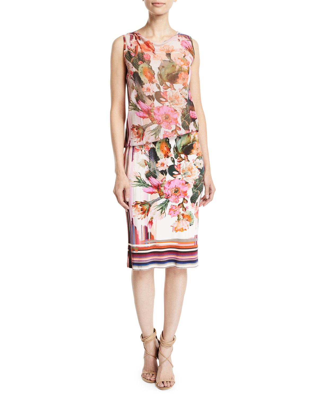431ba54a64d9 Fuzzi Sleeveless Tulle Top Cactus-Print Jersey Tank Dress