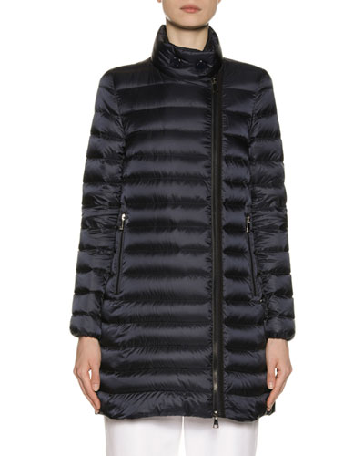 Asymmetric-Zip Puffer Coat