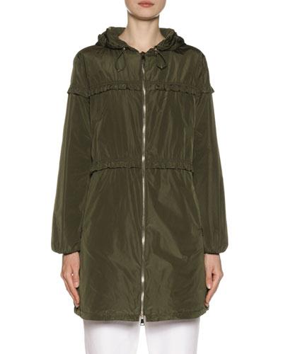 Luxembourg Hooded Ruffle-Trim Jacket
