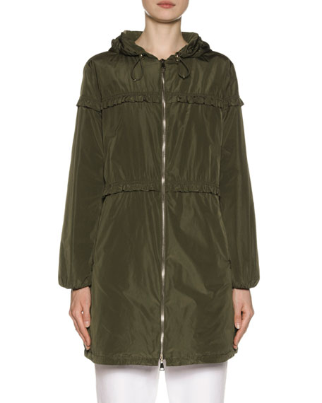 Moncler Jackets LUXEMBOURG HOODED RUFFLE-TRIM JACKET