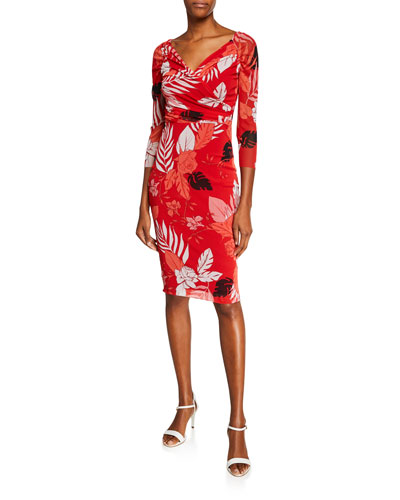 Pink Floral-Print Surplus 3/4-Sleeve Body-Con Dress