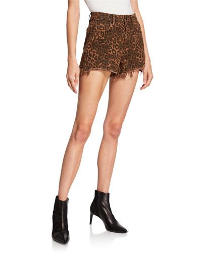Bite Leopard-Print Denim Cutoff Shorts