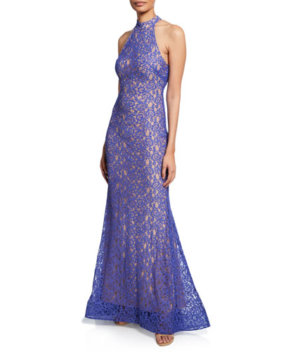Sequin Halter-Neck Stretch Lace Mermaid Gown