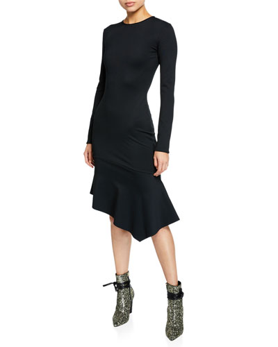 Maddox Crewneck Long-Sleeve Crepe Dress w/ Asymmetric Hem