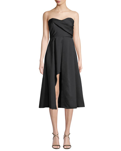 Caine Strapless A-Line Cocktail Dress w/ Front Slit