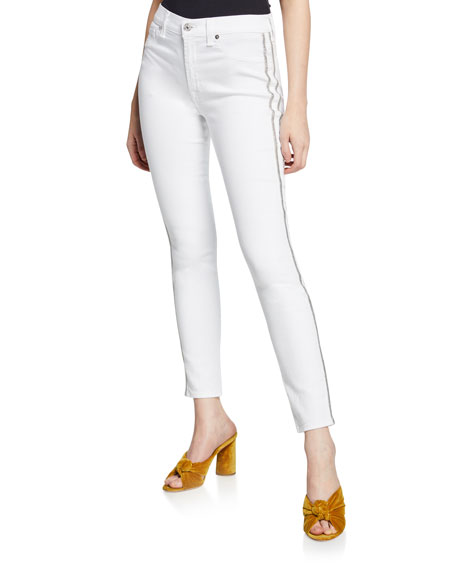 7 FOR ALL MANKIND High-Waist Ankle Skinny Jeans With Silver-Stripe Details in White