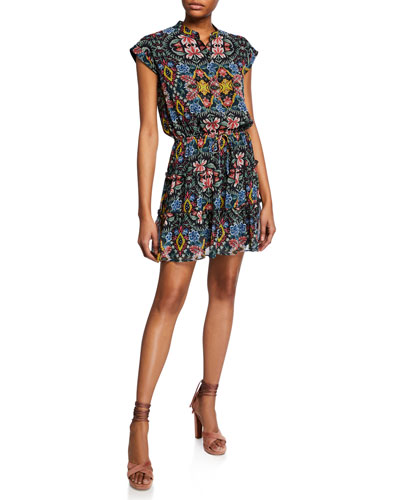 Ollie Floral-Print Cap-Sleeve Dress