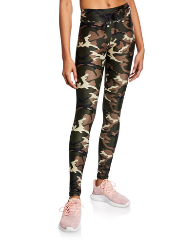 Camo-Print Drawstring Yoga Pants