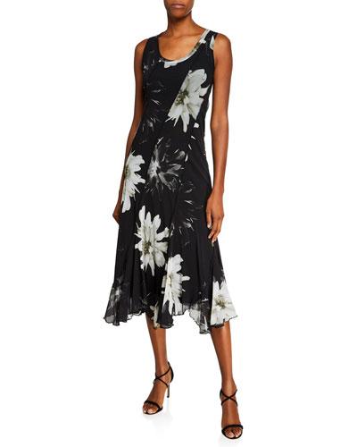 Fracture Flower-Print Scoop-Neck Sleeveless Seamed Dress