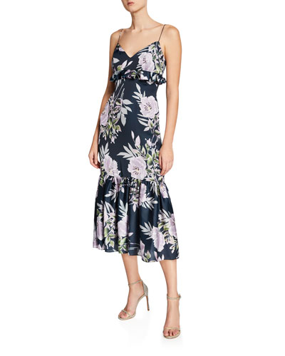 Floral-Print Sleeveless Midi Dress with Ruffle Trim