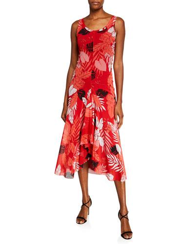 Pink Floral-Print Scoop-Neck Flounce-Hem Tank Dress
