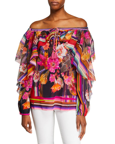 Cactus-Print Off-the-Shoulder Long-Sleeve Ruffle Top