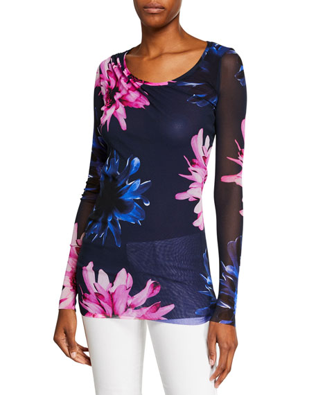 Fuzzi Fracture Floral-Print Scoop-Neck Long-Sleeve Tulle Tee