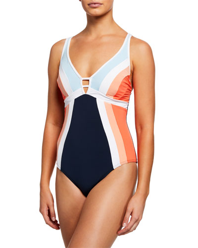 Revolve Plunging Colorblock One-Piece Swimsuit