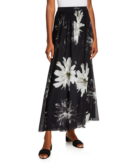 Fuzzi Fracture Flower-Print Long A-Line Skirt