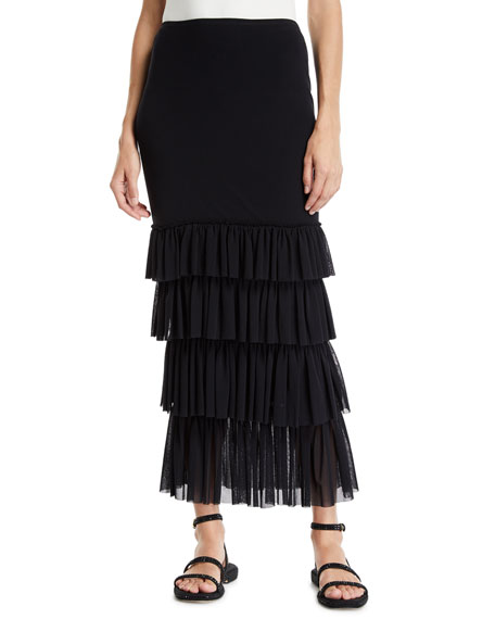 Fuzzi SOLID FITTED LONG RUFFLE SKIRT