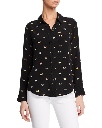 Kate Button-Front Butterfly-Patterned Shirt