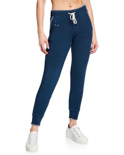 Sporty Drawstring Sweatpants w/ Blanket Stitch