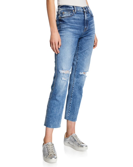 7 FOR ALL MANKIND Edie Distressed Straight Jeans In Pretty Vintage Blue in Medium Blue