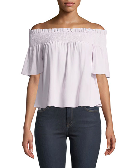 7 FOR ALL MANKIND Off-Shoulder Smocked Silk Blouse in Lilac