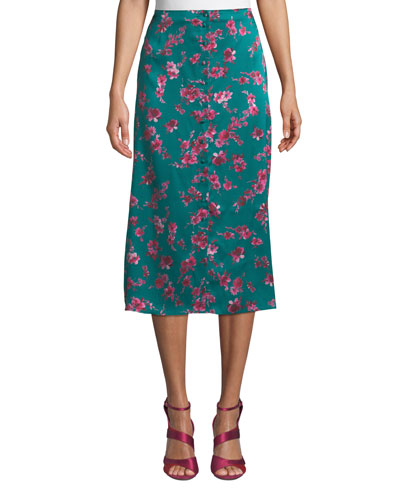 The Annabelle Floral Button-Front Midi Skirt