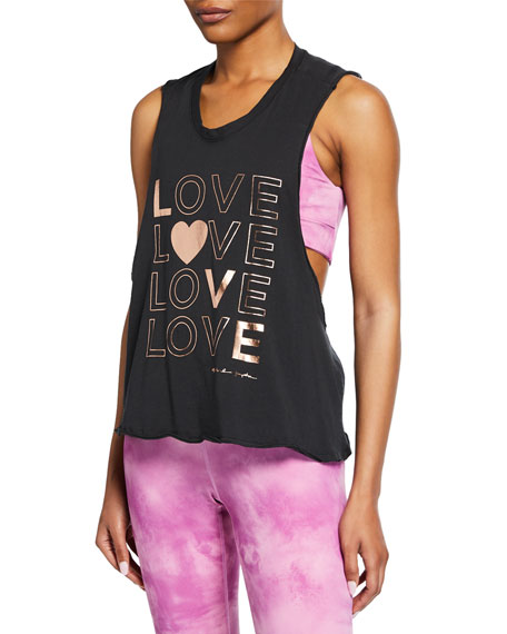 Spiritual Gangster Love Graphic Surplice-Back Tank