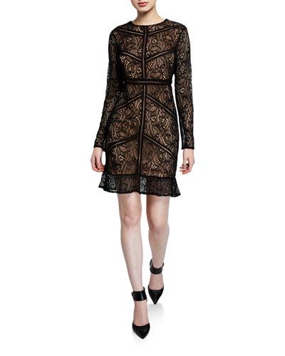 Sasha Long-Sleeve Lace Dress