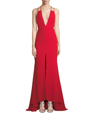 524dea70c9f Fame and Partners Surreal Dreamer Deep V-Neck Gown