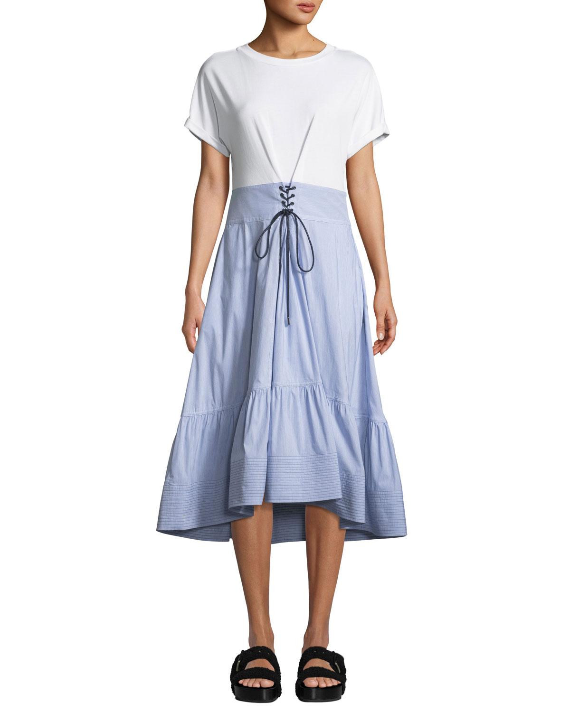 3 1 Phillip Lim Crewneck T Shirt Dress With Corset Waist