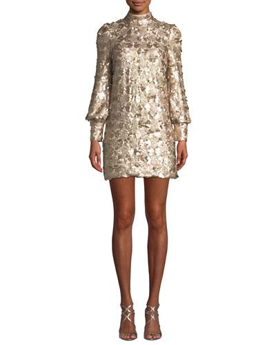 Joan Sequin High-Neck Blouson-Sleeve Mini Dress