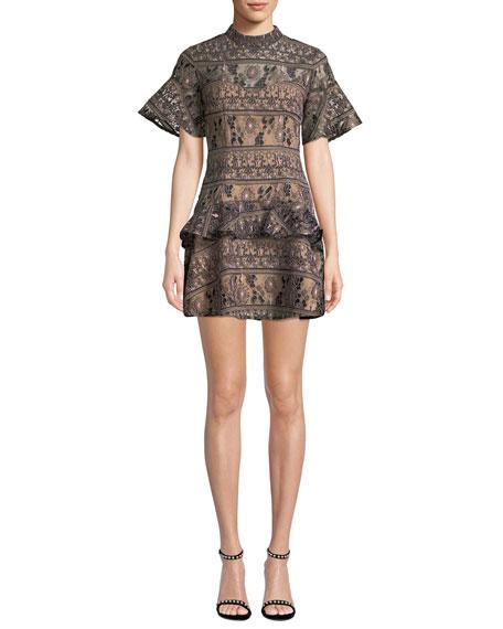 Elliatt Spark Crewneck Short-Sleeve Embroidered Mini Dress