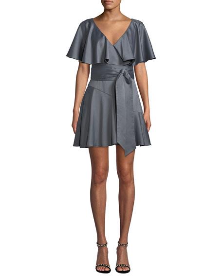 Elliatt Haven V-Neck Draped-Sleeve Satin Dress w/ Self-Tie