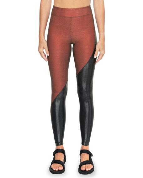 Koral Activewear Toluca Shantung High-Rise Two-Tone Leggings