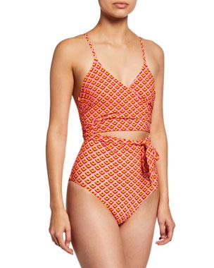 804d29513fefa Diane von Furstenberg Von Wrap-Front Cutout One-Piece Swimsuit