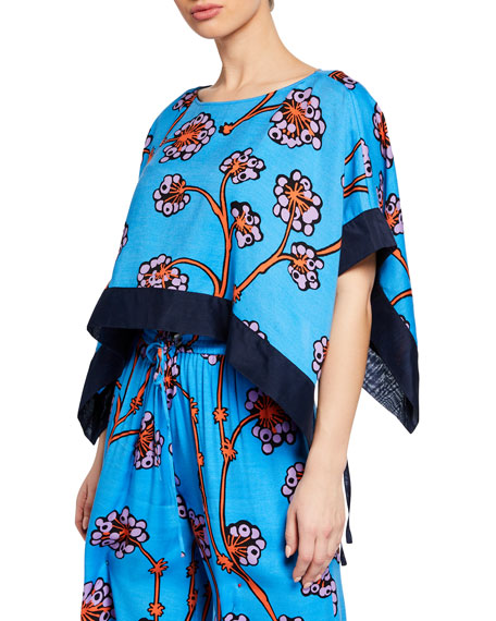 Diane Von Furstenberg Banded Hanky Cropped Floral Coverup Top