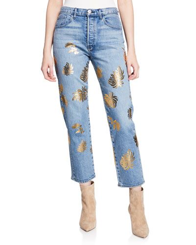 Higher Ground Cropped Straight Jeans with Floral Details