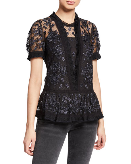 Needle & Thread FORTUNY EMBROIDERED TULLE PEPLUM BLOUSE