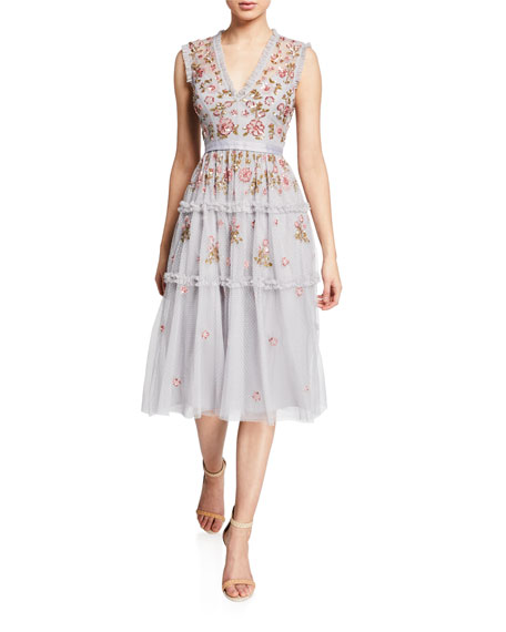 Needle & Thread CARNATION SEQUINED RUFFLE TULLE COCKTAIL DRESS