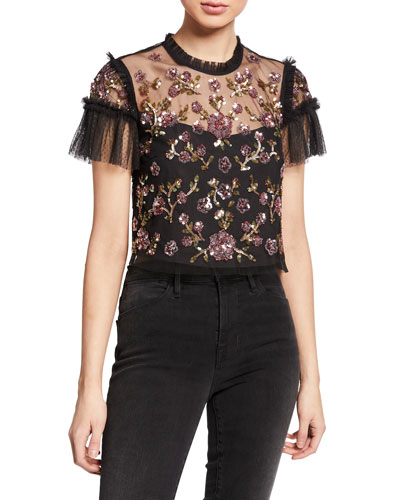 Carnation Sequined Tulle Cropped Blouse