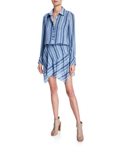 Brandi Striped Button-Front Long-Sleeve Silk Dress