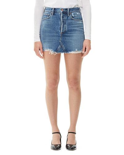Quinn High-Rise Frayed Denim Skirt