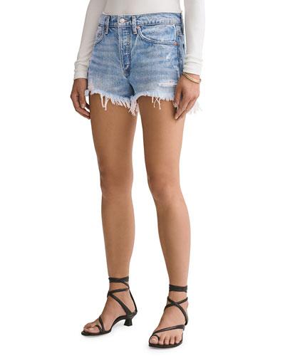 Parker Vintage Frayed-Hem Denim Shorts