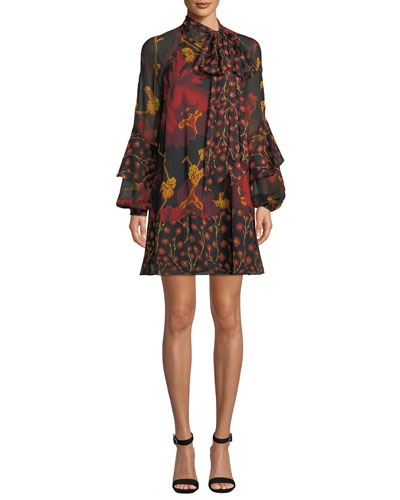 Effie Printed Tie-Neck Silk Cocktail Dress